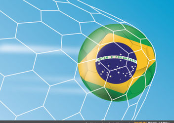 Brazil 2014 worldcup football in the net - бесплатный vector #167927