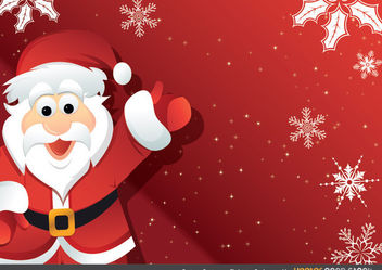 Cartoon Santa over Christmas Background - Free vector #167967