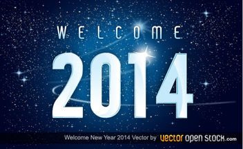 Welcome new year 2014 in space background - vector gratuit #168007