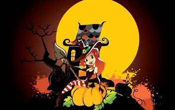 Funny Halloween Art with Witch Girl - Free vector #168067