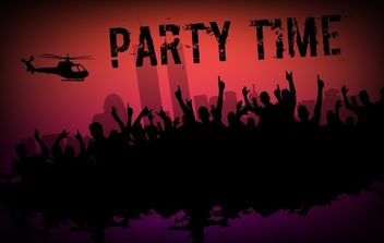 Party Flyer with Crowds & Helicopter - Free vector #168077
