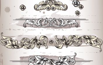 Sketchy Floral Ornament Pack - Free vector #168257