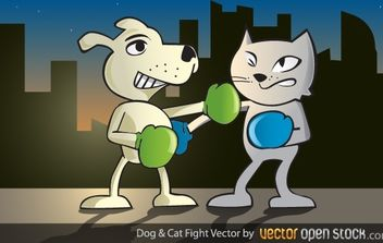 Dog and Cat Fight - Free vector #168327