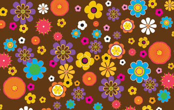 Retro flowers pattern - бесплатный vector #168817