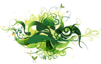 Green Swirl Floral Vector Illustration - Free vector #168917
