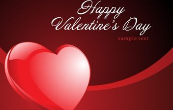 Happy Valentine's Day Heart Vector Card - vector gratuit #169337