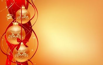 Christmas balls with ribbon behind them - Free vector #169567