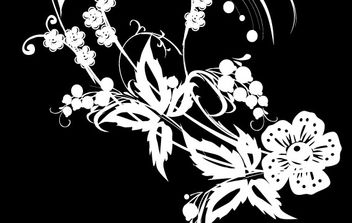 Black &White Flower Decoration - vector gratuit #169647