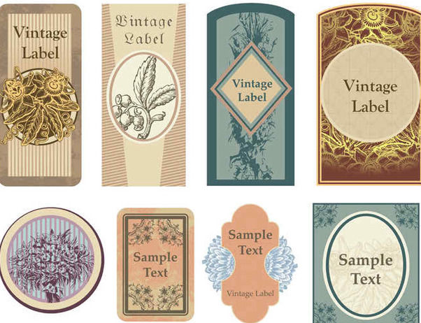 Dekorativer Vintage Label Pack - Kostenloses vector #170247