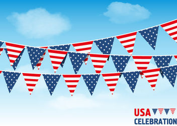 USA Bunting Flags Sky Background - Free vector #170337