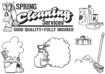 Cleaning Service Utensils Cartoon - Free vector #170347