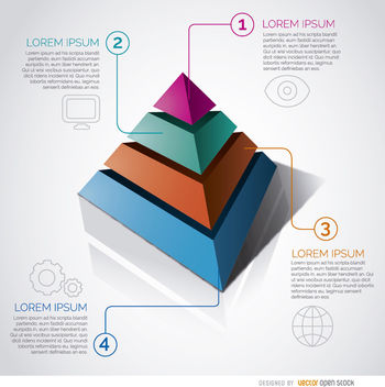 Infographic pyramid graph - vector gratuit #170397