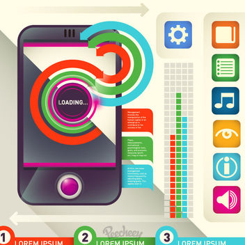 Colorful Infographic with Phone & Icons - vector gratuit #170407