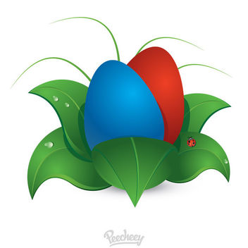 Abstract Easter Eggs on Leafs - Free vector #170447