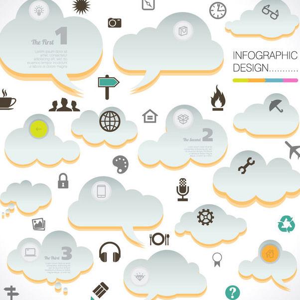 t u00e9l u00e9chargement du vecteur gratuit   abstrait infographie nuages avec icones