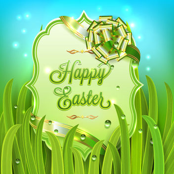 Easter Shield Banner with Grasses - Free vector #170587