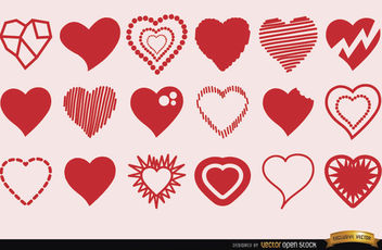 18 Heart symbols in different styles - vector #170667 gratis