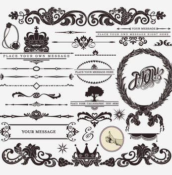 Vintage Heraldic Decorative Ornament Pack - vector #170697 gratis