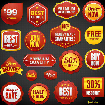 Glossy Promotional Sale Label Set - Free vector #170807