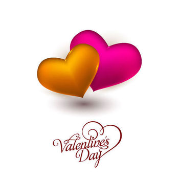 Gold Pink 3D Hearts Valentine Card - Free vector #170817