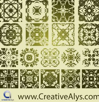 Classic Antique Florist Pattern Set - Free vector #170847