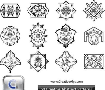 Black & White Abstract Floristic Ornament Set - Free vector #170857