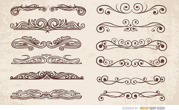 12 Swirl ornaments dividers - vector #171497 gratis
