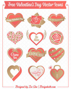 Creative Valentine Heart Decoration Pack - vector gratuit #171507