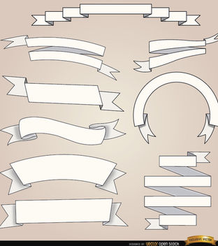9 White ribbons with different foldings - бесплатный vector #171517