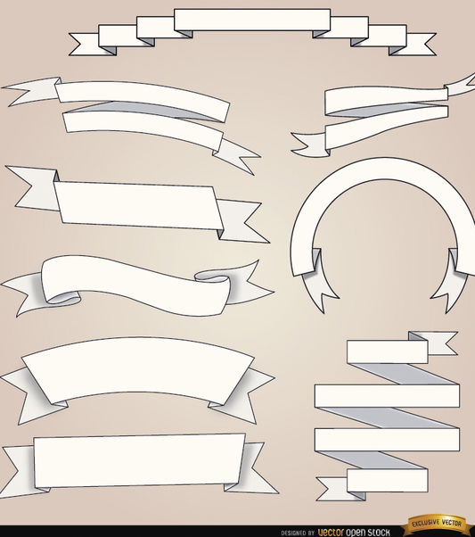 9 White ribbons with different foldings - Free vector #171517