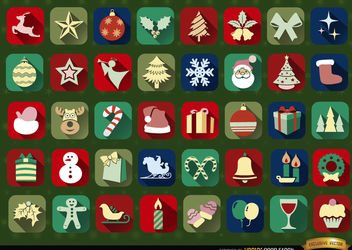 40 Christmas squared icons - vector gratuit #171527