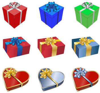 Various 3D Gift Box Pack - бесплатный vector #171537