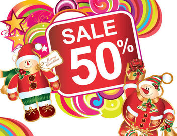 Cartoon Xmas Discount Sale Label - vector gratuit #171557