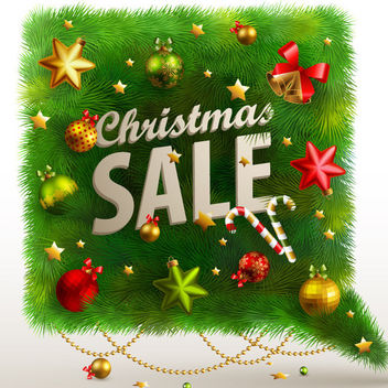 Christmas Sale Banner on Green Branch - Free vector #171587