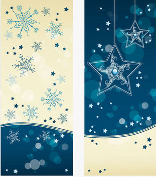 Blue Light Christmas Brochure Templates - Free vector #171597