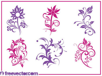 Blooming Flower Pack Silhouettes - vector gratuit #171757
