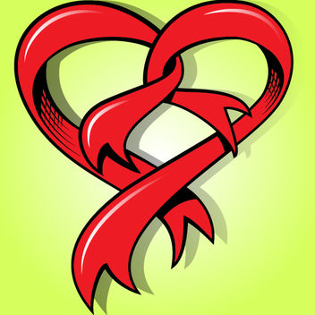Funky Heart Shape Ribbon - vector gratuit #171767