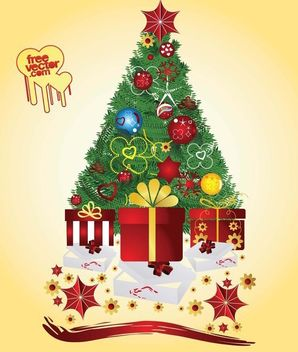 Gift Boxes Under a Decorative Xmas Tree - Free vector #171807