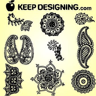 Classic Indian Henna Design Set - Free vector #171857