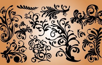 Soft Curved Floral Ornament Set - vector gratuit #171917