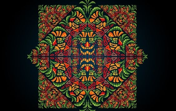 Psychedelic Aztec Style Ornament - бесплатный vector #171967