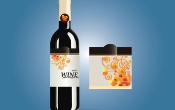 Glossy Wine Bottle with Label - бесплатный vector #172017