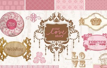 Vintage wedding decorative frames and elements vector - бесплатный vector #172217