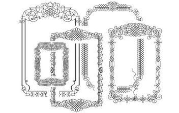 5 calligraphic Vector Frames - Free vector #172317