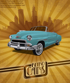 Retro Car Poster - Free vector #172897