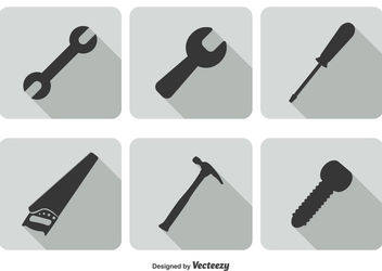 Flat Construction Tool Set - vector gratuit #172907