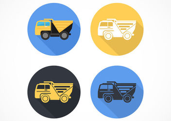 Flat Dump Truck Circle Icons - Free vector #172917