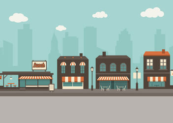 Flat Outdoor Cafes City Cartoon - Kostenloses vector #172927