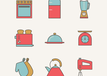 Vintage Flat Kitchen Utensil Pack - Free vector #172967