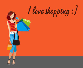 Young Hot Shopping Girl Cartoon - vector gratuit #173037